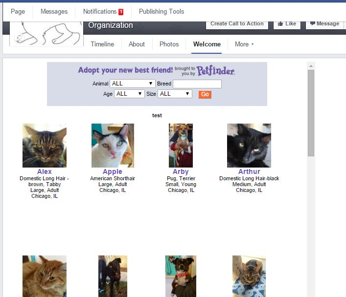 Pet List Scroller for Facebook - Petfinder Members