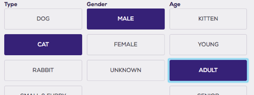 Sort by date gender, type, age, etc.
