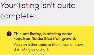 Your listing isn't quite complete. Required fields: Size