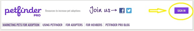 Purple Sign In button highlighting member log in on Petfinder Pro homepage.