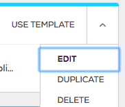 Top right corner of template shows options to edit: Use template, edit, duplicate, delete