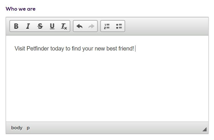Petfinder Homepage WYSIWYG editor