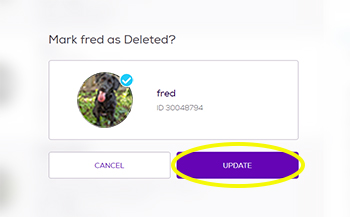Confirmation message: Mark Fred as deleted? click update but to process with delete