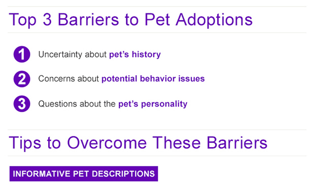 Marketing adoptable pets for animal shelters and rescues Barriers