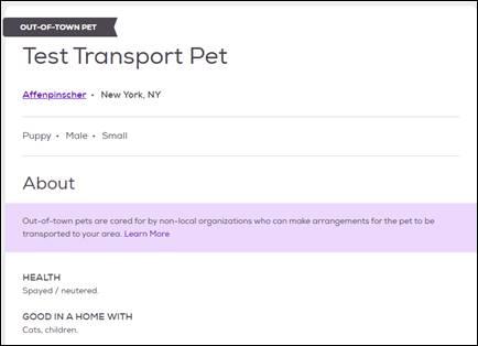 Adding Transport pets admin view