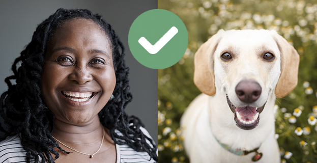 woman smiling on the left and a yellow lab mix dog smiling on the right with a green checkmark graphic in the middle